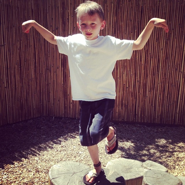 My #karatekid doing the #crain stance at the zoo!