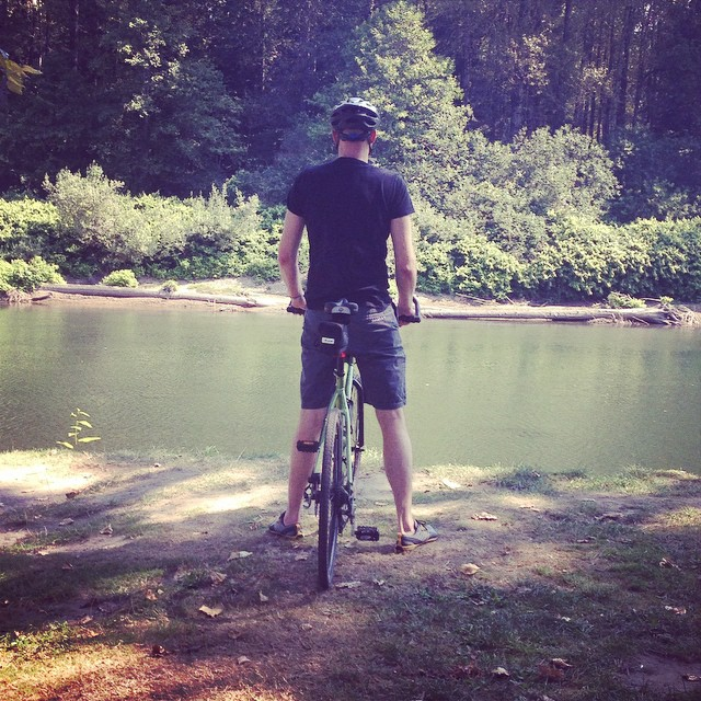 Our weekend without the kids.  I freaking LOVE this man!  With @therealdavidoak #snoqualmie #river #biking #strongluv