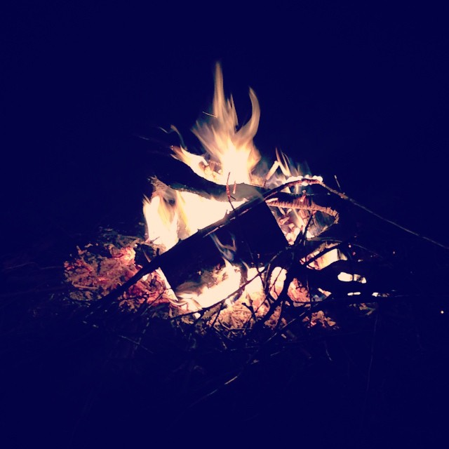 I was looking forward to gathering around a fall bonfire for so many months now.  Crisp air, a warm drink and the laughter of children as they roast marshmallows and play tag in the dark.  Good times!